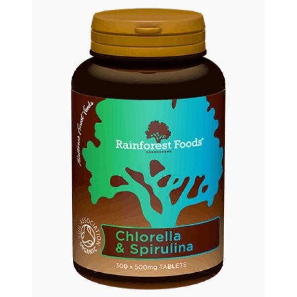 CHLORELLA + SPIRULINA 500mg 300tabl. Rainforest Foods