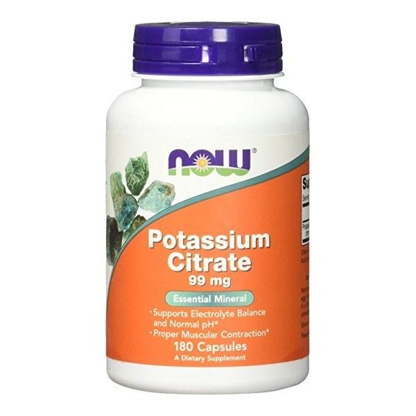 POTAS (CYTRYNIAN POTASU) 99mg 180kaps. Now Foods