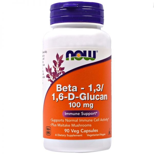 BETA GLUCAN 1,3/1,6 100mg + MAITAKE 160mg 90kaps. Now Foods